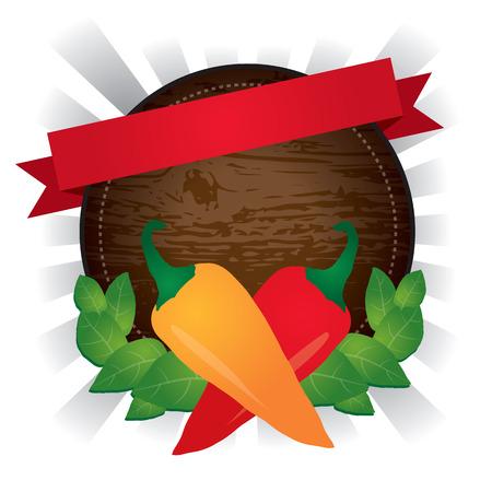 木製丸みを帯びた唐辛子唐辛子ラベル、ベクトルイラスト。