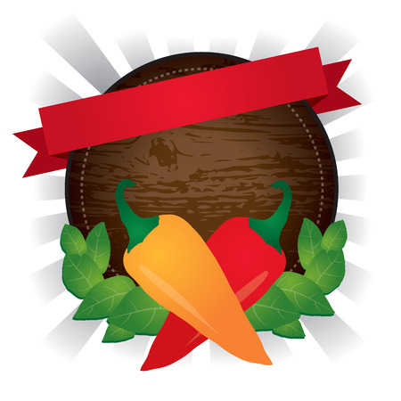 Wooden rounded hot pepper chili label, vector illustration. 向量圖像