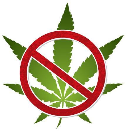 いいえマリファナ大麻禁止シンボルベクトルデザイン