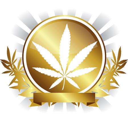 golden Cannabis marijuana leaf Badge design Vector illustration. Stock Illustratie