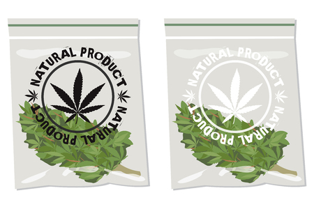 marijuana bud bag  with label natural product over it Vettoriali