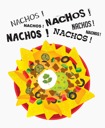 Loaded cheese nacho plate with sour cream and guacamole with multiple nacho word text Ilustração