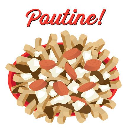 Poutine meal illustration vector with sausages topping Ilustração