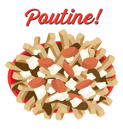 Poutine meal illustration vector with sausages topping Illustration