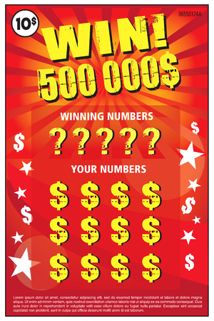 instant lottery ticket scratch off vector illustration and lorem ipsum is use as tempory text Ilustração