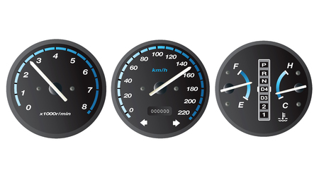 Black and blue car dashboard with gauge illustration vector