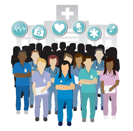 Serious nurse group team work in front of an hospital building concept with icons.