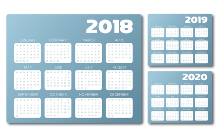 Set of 2018, 2019 and 2020 blue and gray calendars.