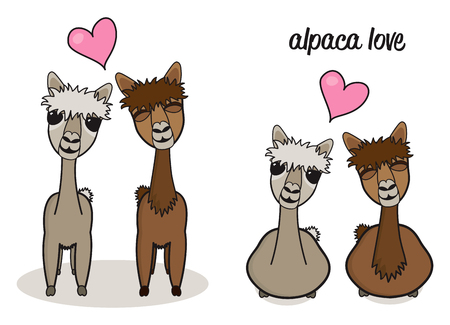 Cute cartoon alpaca couple in love illustration vector