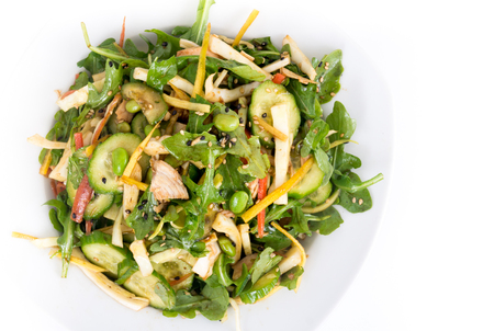 oriental chicken fresh salad bowl with cabbage and edamame