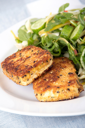 deep fried in bread crumb tofu slices with salad