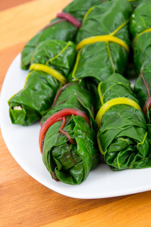 stuffed swiss chard leaves rolls appetizer closeup