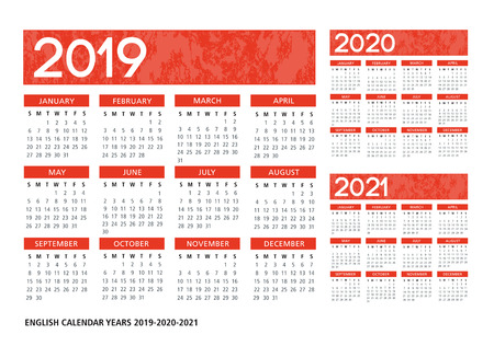 English textured calendar 2019-2020-2021 vector template text is outline font is frutiger