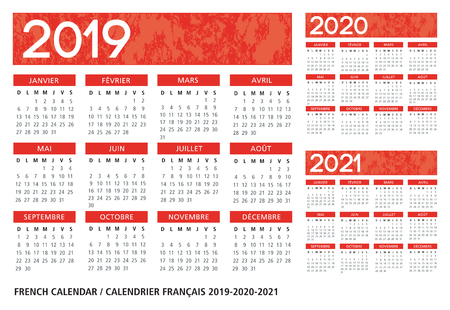 French language orange textured calendar 2019-2020-2021 vector template text is outline font is frutiger Ilustração
