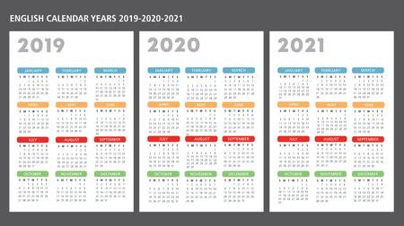 El texto de la plantilla de vector de calendario en inglés 2019-2020-2021 es un esquema