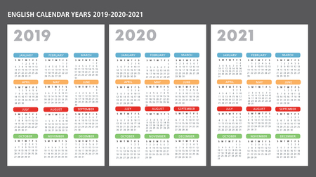 English calendar 2019-2020-2021 vector template text is outline