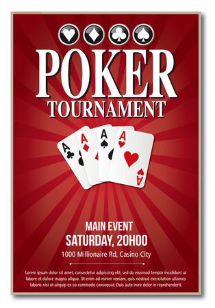 Conception de modèle rouge de fond de tournoi de poker de casino dans le vecteur avec la couche et le texte décrits aucune ombre sur la version 10 d'eps