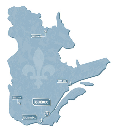 Quebec map with cities location mark illustration and vector with grunge texture Quebec is a province of Canada