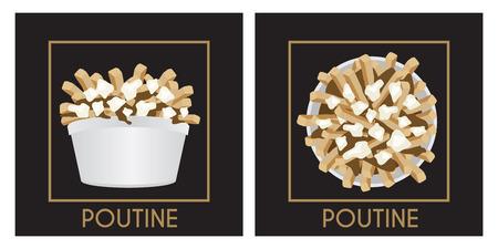 Poutine Quebec pasto con patatine fritte, sugo e cagliata di formaggio su uno sfondo nero illustrazione vettoriale