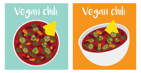 vegan chili bowl illustration vector text is outline version 10