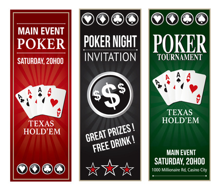 Poker invitation event vertical flyer text is outline