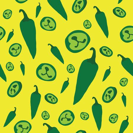 green Jalapeno pepper seamless pattern vector