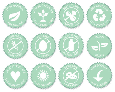 Pink Nutrition blue label icon set vector Illusztráció