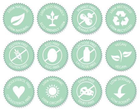 Vettore rosa dell'icona dell'etichetta blu di nutrizione Vettoriali