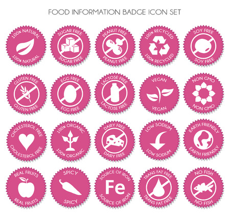 Pink Nutrition food badge label icon set vector