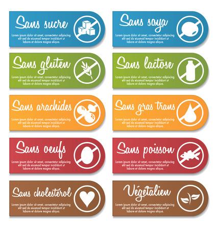 french language food nutrition information label banner set