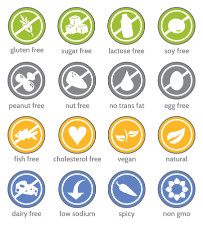 food restriction information label icon set
