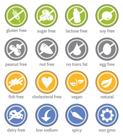 food restriction information label icon set Illustration
