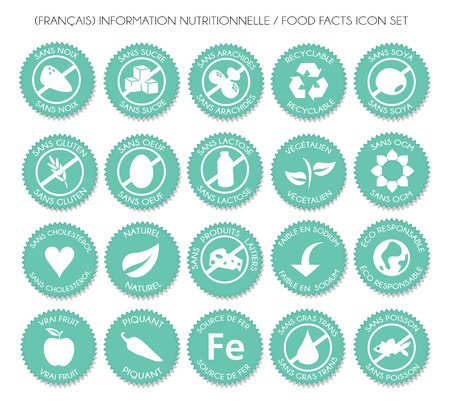 French turquoise Nutrition food facts badge label icon set vector Archivio Fotografico - 113561341