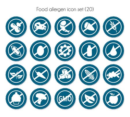 food allergen icon set vector nutrition intolerance