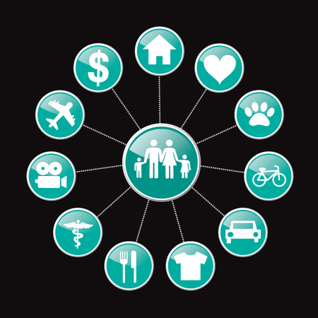 Family life related coneept icons vector