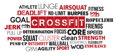 Crossfit sport word cloud concept text is outline Vettoriali