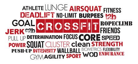 Crossfit sport word cloud concept text is outline Ilustrace