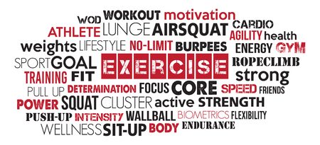 Red and black exercise word cloud concept text is outline