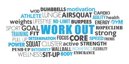 Work Out word cloud concept text is outline Vettoriali