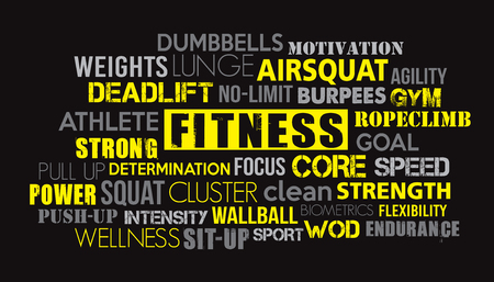 Fitness sport word cloud concept text is outline Stock Illustratie