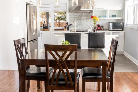 elegant new modern home dining room and kitchen Stok Fotoğraf