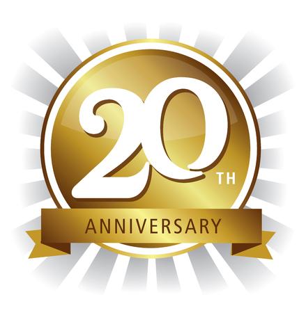 20th anniversary badge shiny gold vector