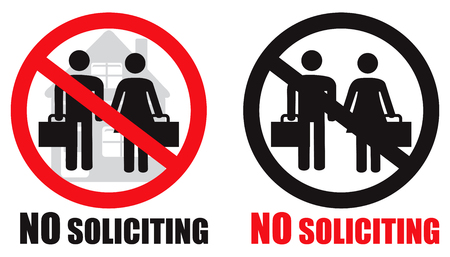 No soliciting allowed home symbol sign vector