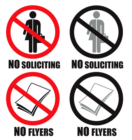 No soliciting unisex and no flyers allowed at home symbol sign vector Illustration