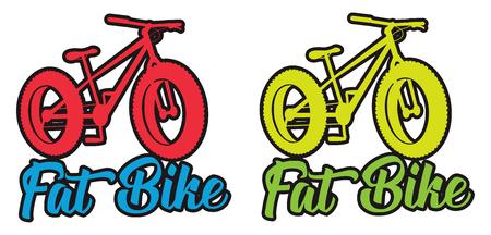 Illustration d'autocollant de conception de vecteur de couleur vive fluo fat bike