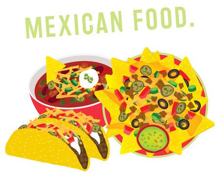 mexican food restaurant illustration vector