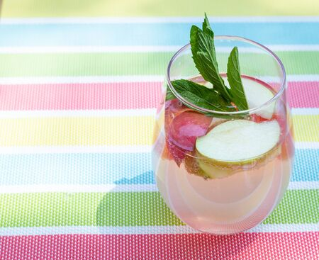 summer refreshing infused drink beverage glass with apples and mint sparkling water