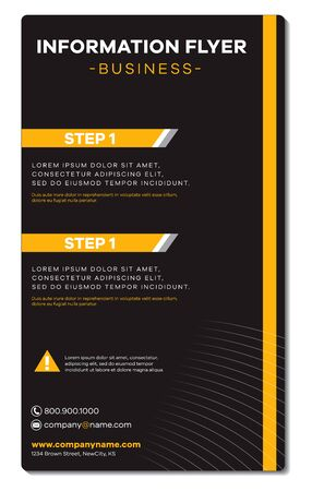 Business company  information flyer template front and back Font is Galyon