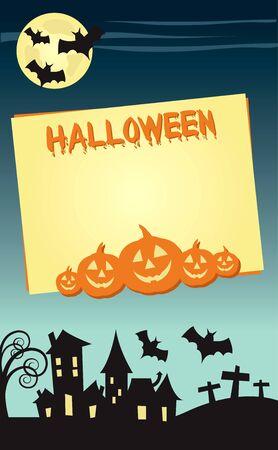 Halloween invitation poster or card illustration design