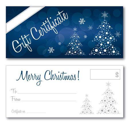 blauwe cadeaubon kerst ontwerp vector voor- en achterkant lettertype overzicht geen slagschaduw op de vector